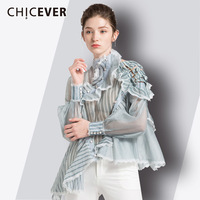 CHICEVER Off Shoulder Women's Blouse Ladies Tops Turtleneck Irregular Ruffles Hem Striped Perspective Sexy Fashion Clothing New
