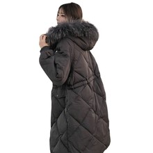 Winter Coat Women New Thickening Loose Large Fur Collar Fashion Parka Plus Size Loose Down Cotton Jacket Manteau Femme Hiver 100 цены