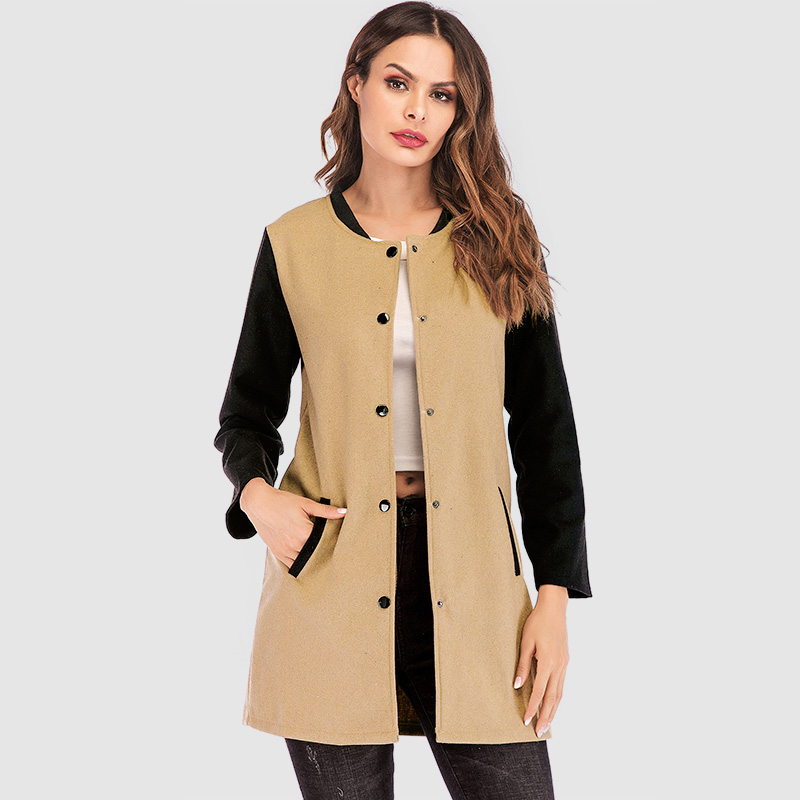New Fashion Women Autumn Winter Jacket Coat Color Splice Long Sleeves Side Pockets Buttons 2019 Casual Outerwear Overcoat