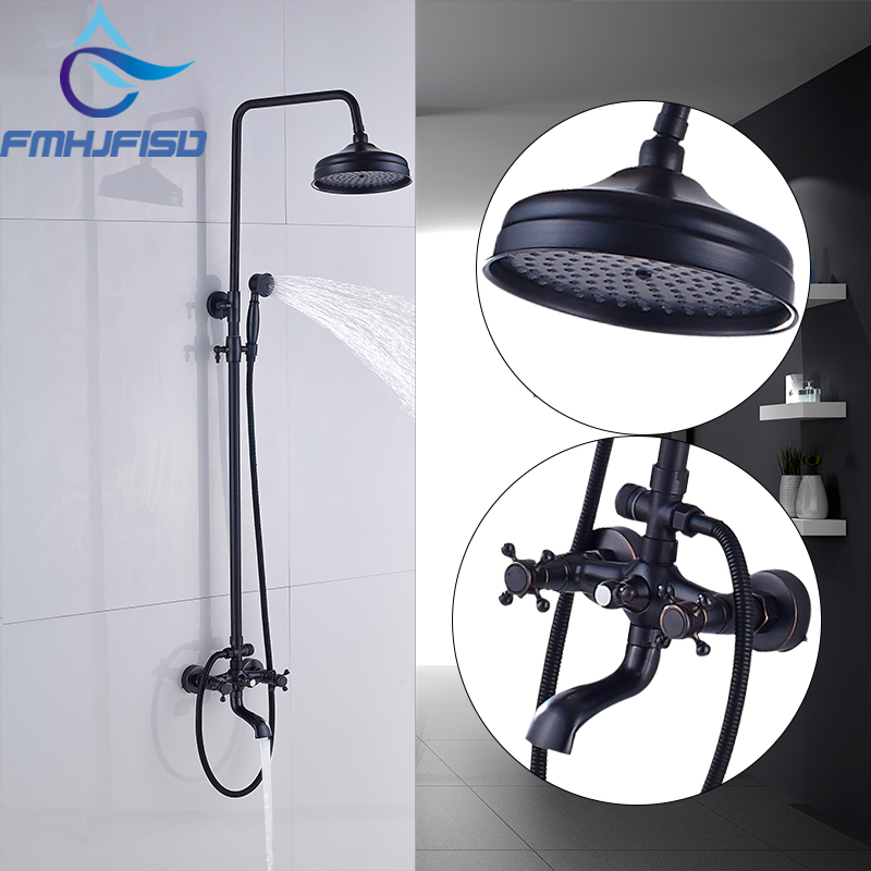 Oil Rubbed Bronze Bath Shower Faucet Wall Mounted Dual Handle Bathroom Mixer Water Taps Rotation Spout