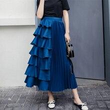 Qiukichonson Korean Style Women Pleated Skirt High Waist Spring Summer Zip Casual Ruffle Skirt Ladies Long Skirt jupe longue