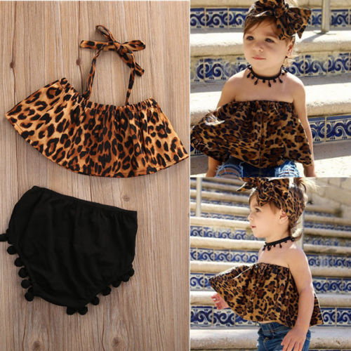 Pudcoco Baby Girl Set 0-3Y US Stock 2Pcs Baby Kids Girls Clothes Leopard T-shirt + Short Pants Kids Outfits