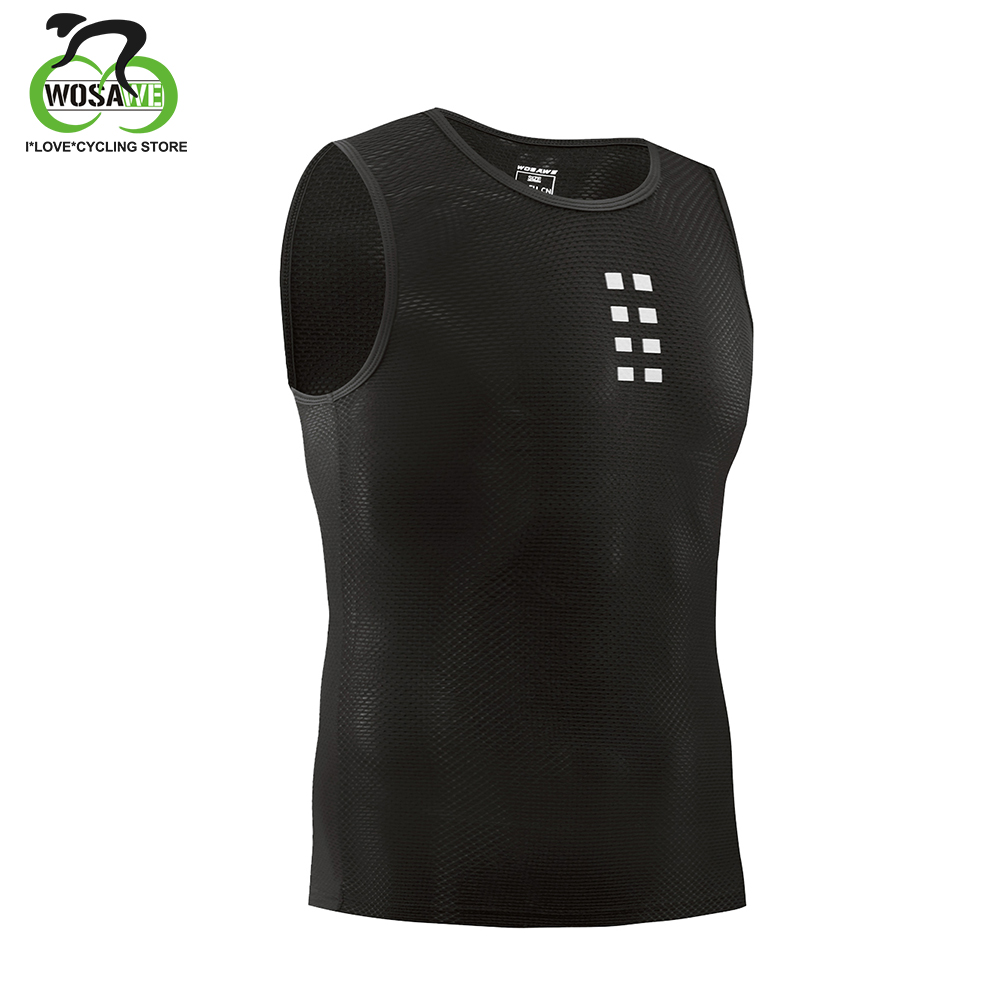 WOSAWE Superlight Cycling Base Layer sleeveless Cycling Underwear Quick dry Mesh under shirt Compression Sports Tight