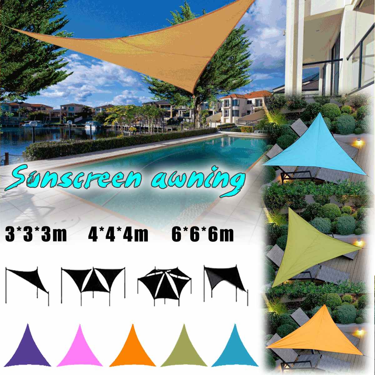 6x6x6m Large Waterproof Triangle Awning Shade Sail Sun Outdoor Waterproof Sun Shade Sail Garden Patio Pool Camping Picnic Tent6x6x6m Large Waterproof Triangle Awning Shade Sail Sun Outdoor Waterproof Sun Shade Sail Garden Patio Pool Camping Picnic Tent