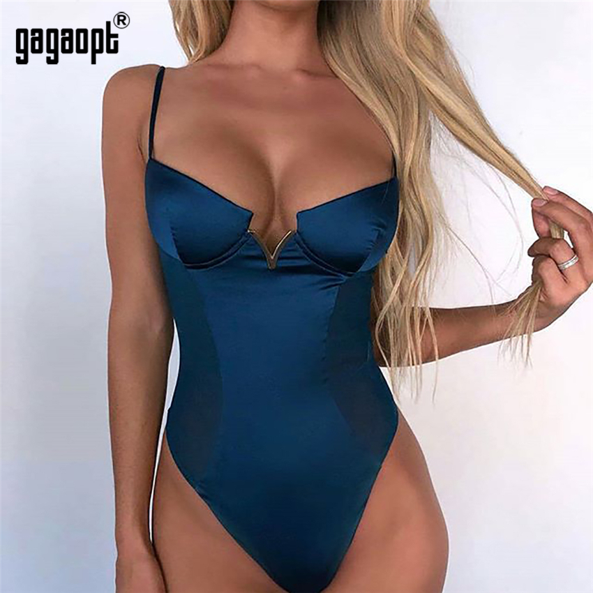 Gagaopt 4 Colors V neck Sexy Bodysuit Women Fashion Patchwork Mesh Bodysuit Sleeveless Bodycon Bodysuit   Jumpsuit   Summer Overalls