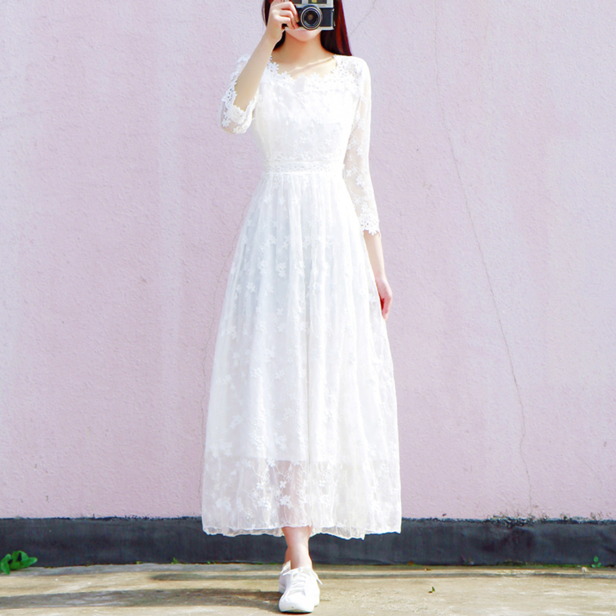 2019 New Women Vintage 3 4 Sleeve Square Collar Hollow Out Lace Dresses Casual Elegant White