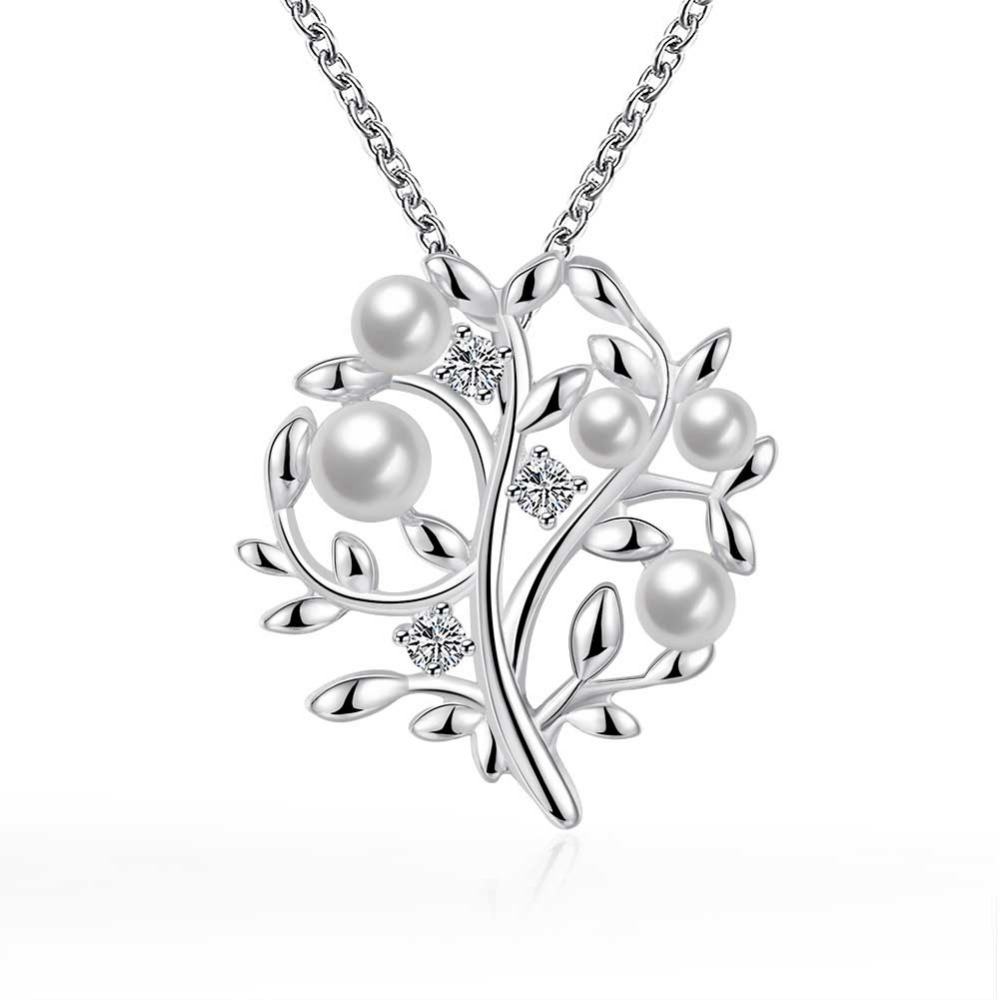 N800 925 sterling silver jewelry fine fashion cute flower tree with pearl beads pendant necklace for men's girl women jewerly
