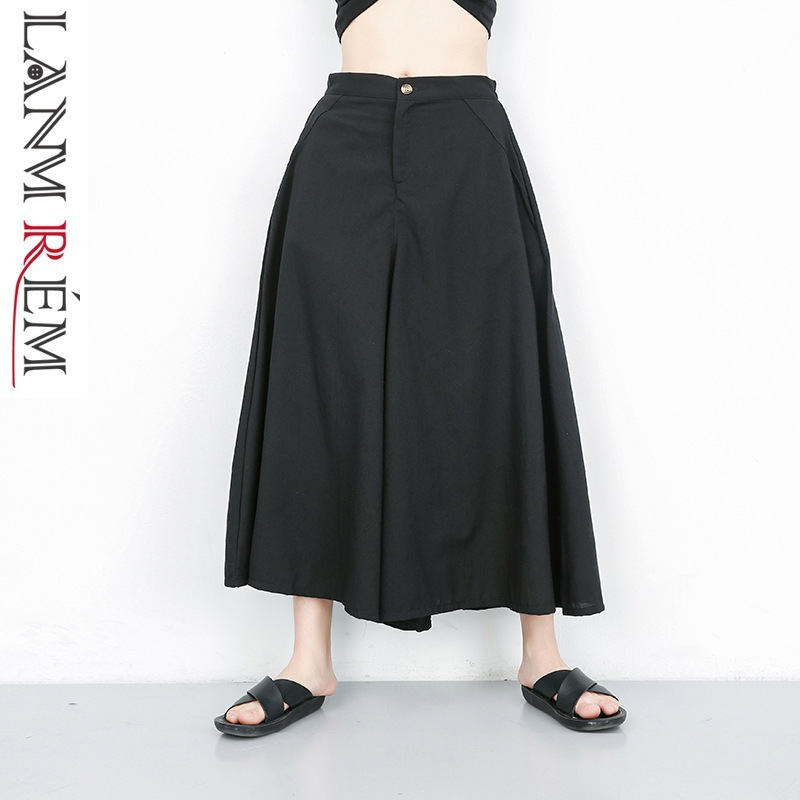LANMREM 2019 Summer Clothes For Women Black   Wide     Leg     Pants   Personality Loose Large Size Casual Ankle-length   Pants   YH39501