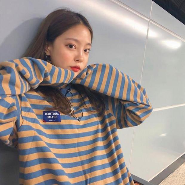 YouGeMan Fashion Hoodie Woman Autumn Clothing Korean Ulzzang Harajuku Striped Long Sleeve Sweatshirts Hoodies Female Casual Tops a-line
