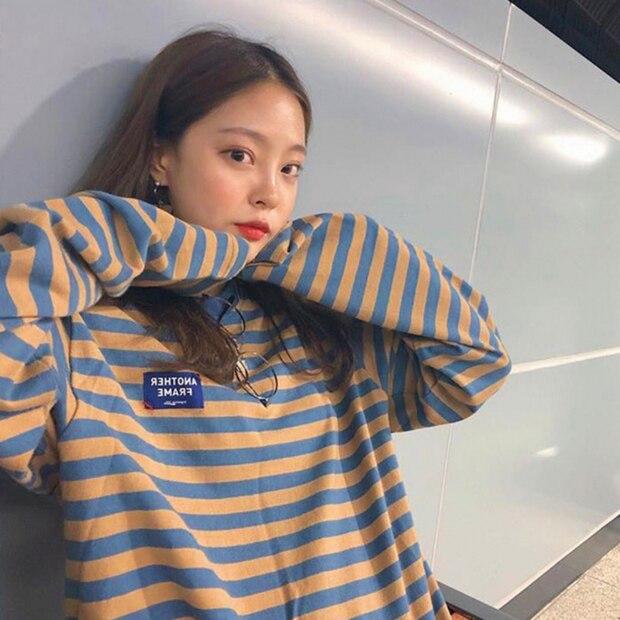 YouGeMan Fashion Hoodie Woman Autumn Clothing Korean Ulzzang Harajuku Striped Long Sleeve Sweatshirts Hoodies Female Casual Tops
