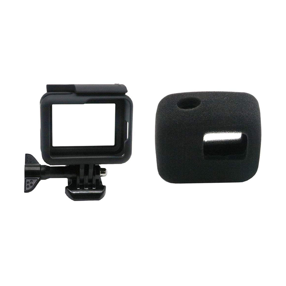 Protective Frame Case + Windshield Cover For Gopro-Hero <font><b>7</b></font>/6/5/Hero Hd, Housing Border Shell Accessories And Wind Noise Reducti image