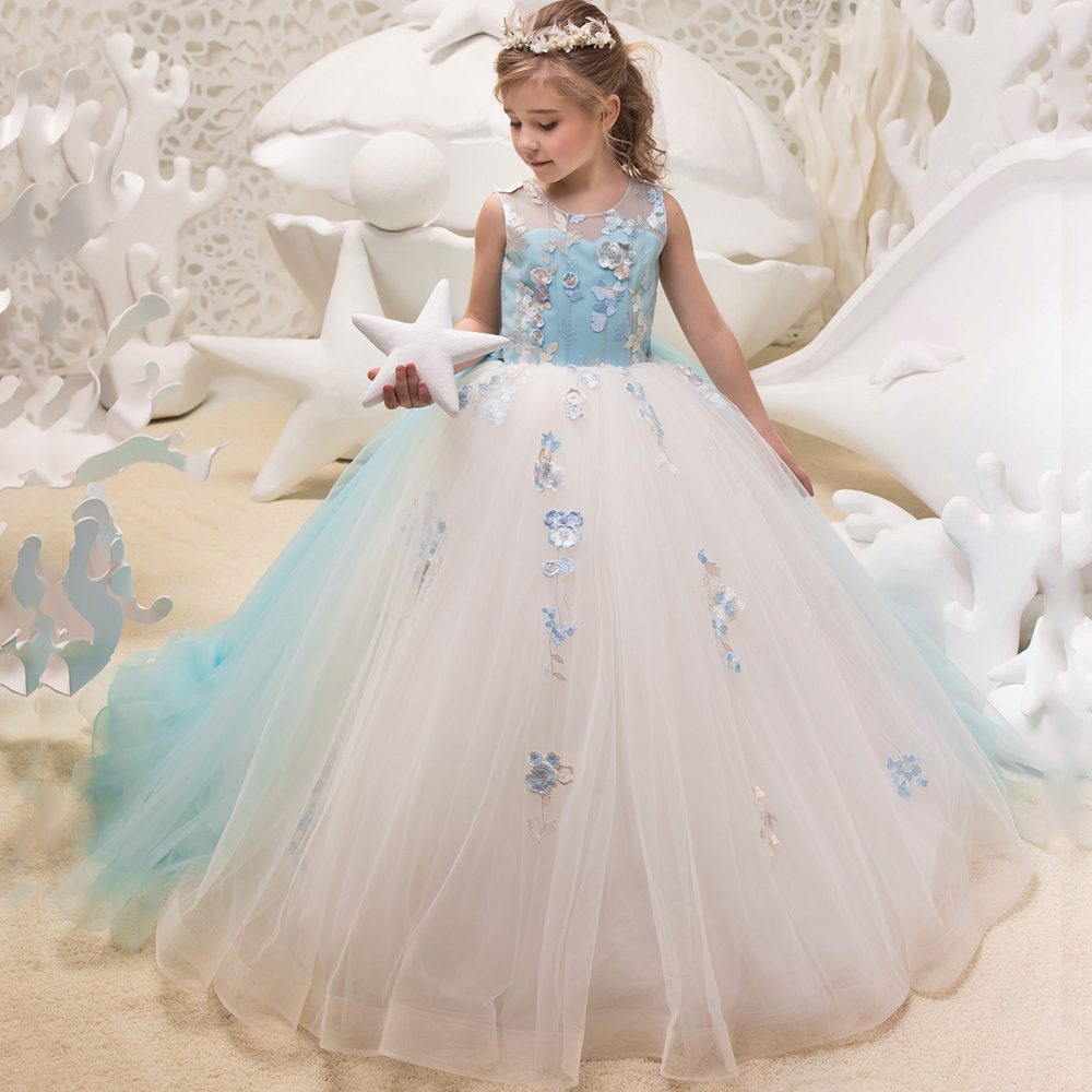 Little Girls Wedding Gowns: Cheap Little Girls Sleeveless Ball Gowns V Back Embroidery