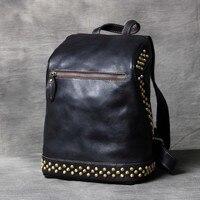 Черный блокнот сумки Рюкзаки Женские Ретро из натуральной кожи женский рюкзак сумка ручной работы кожаный Школьный рюкзак сумки с заклепка