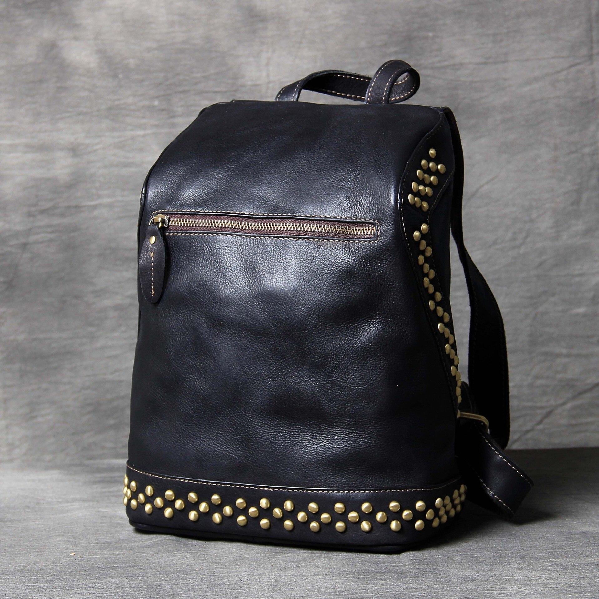 Noir sacs pour ordinateur portable sacs à dos femme rétro en cuir véritable femmes sac à dos sac à main en cuir école sac à dos clouté sacs