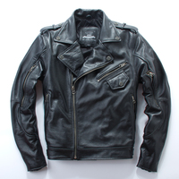 Brand New cool pro man 100% cow leather motorbiker Jackets men's genuine Leather jacketmotorcycle gear