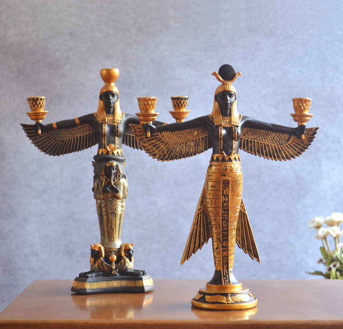 Hand Painting Golden Resin Figurine Ancient Egypt Goddess Model Classic Decoration Craft Wine Rack Statue Candle