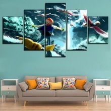 Modular Picture Home Decorative Framework Top-Rated Canvas Print Painting 5 Panel Animation Pokemon Poster Wall Art Living Room