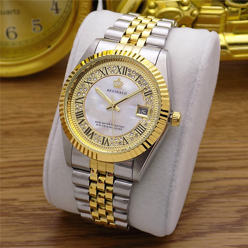 Fashion Classic REGINALD Brand Datejust Quartz Watch Men Fluted Bezel Vintage Roman Dial Full Stainless Steel Luminous Clock