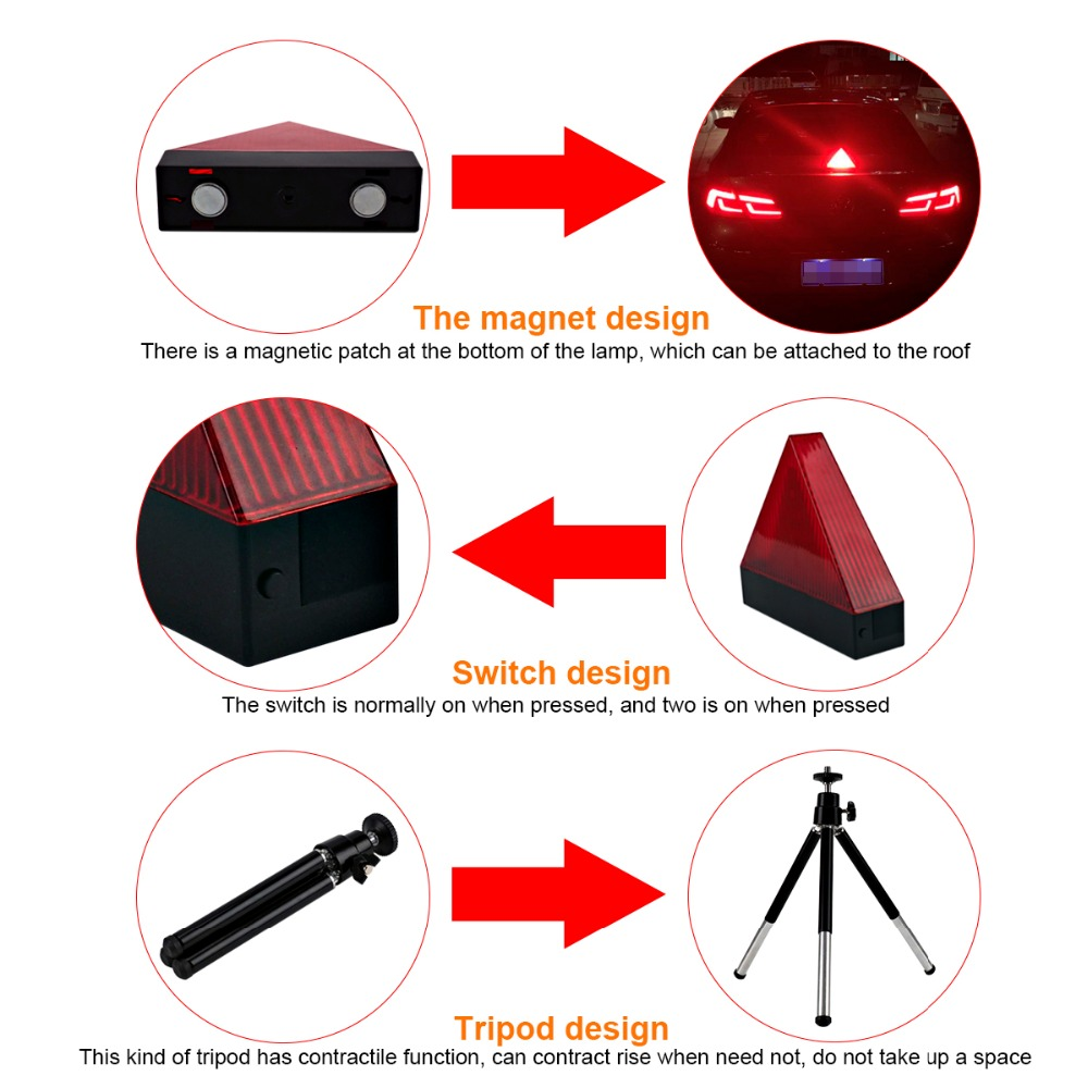 Car Triangle Flash Strobe Light Tripod Auto Safety Emergency Anti Collision Signal Lamp for Peugeot 206 Passat b6 Universal in Signal Lamp from Automobiles Motorcycles