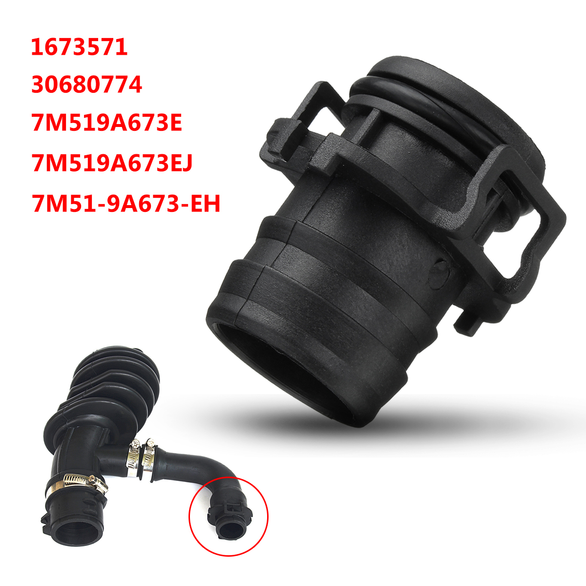 1Pc Black Air Intake System Filter Flow Intake Hose Pipe Clip For Ford For Focus For C-Max 7M519A673EJ 30680774 2003-2012