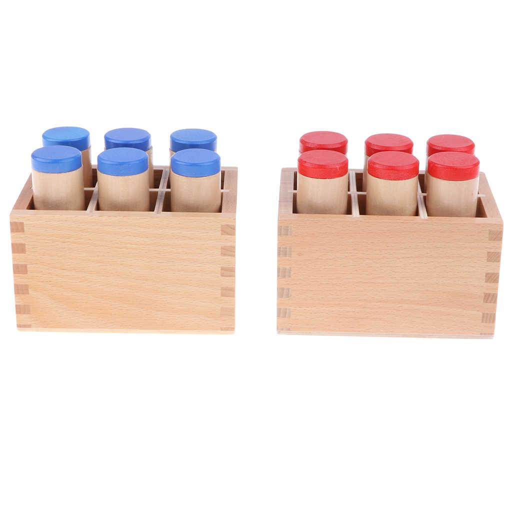 Montessori Duyusal Malzeme Oyuncak Ses Silindir Kutu Seti Ahsap