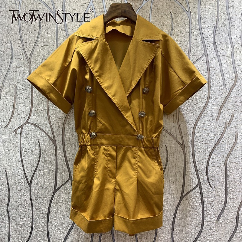 TWOTWINSTYLE Casual Solid Women Jumpsuit Lapel Short Sleeve High Waist Big Size Playsuit Female Fashion 2019 Spring New Tide