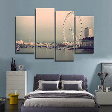 Canvas Home Decoration 4 Pieces Ferris Wheel City Building Paintings Wall Art Prints Poster Hotel Living Room shipped 24 hour(China)