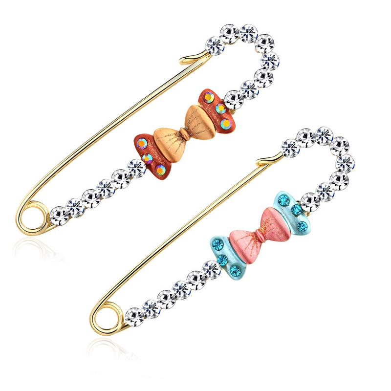 Rhinestones Safety Pin Brooches European And American Style Personality Creative Korean Version Of The Retro High-grade Brooch
