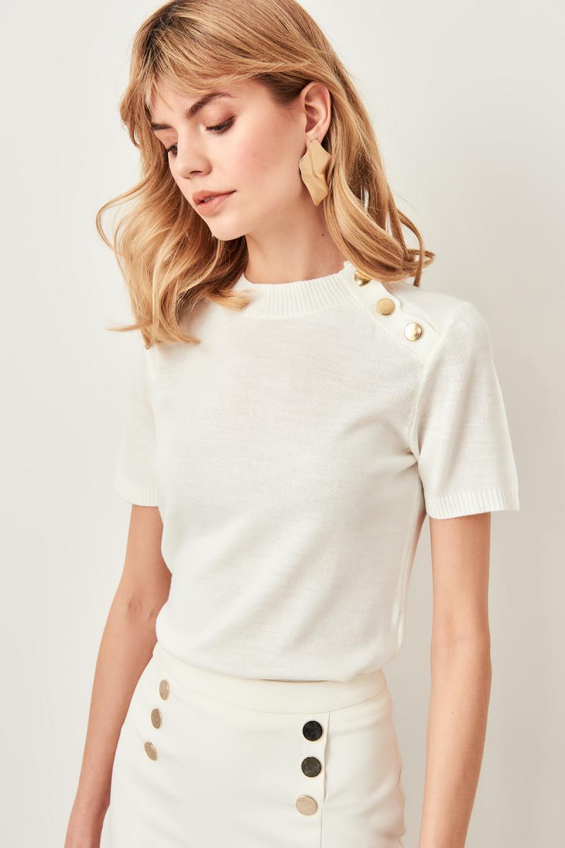 Trendyol Women Button Turtleneck Ecru Gray Powder Women Knitwear Sweater TWOSS19IS0039