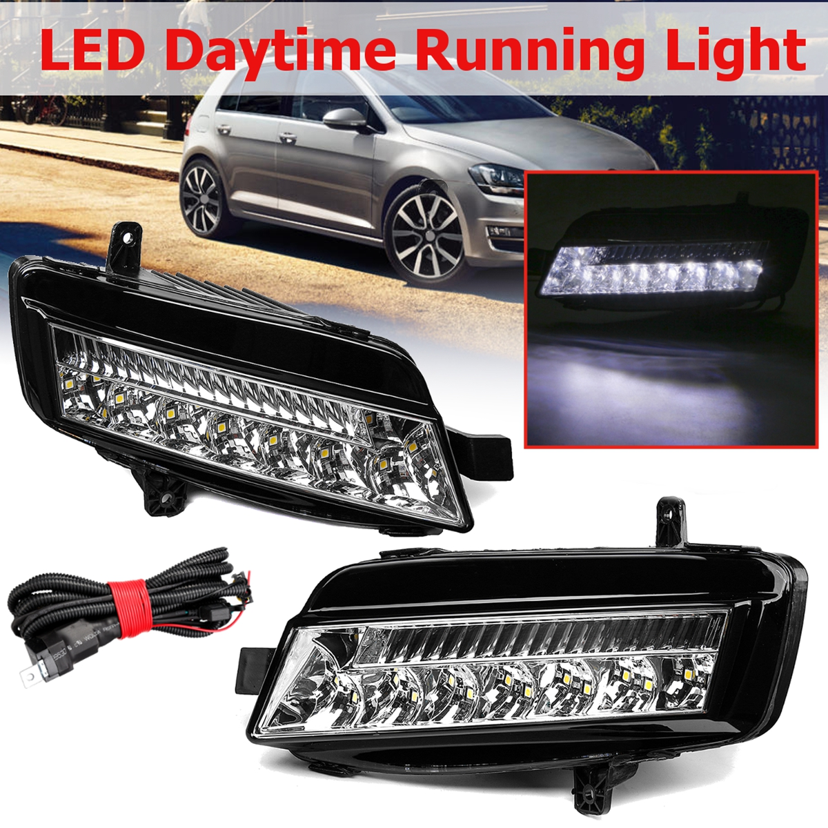 For VW Golf 7 MK7 2014 2015 2016 2017 1 Pair LED DRL Daytime Running Lights Fog Light Fog Lamp Car-styling Headlights Head Lamp 1 pair car led lights 12 24v drl head lights 8w turn light strip