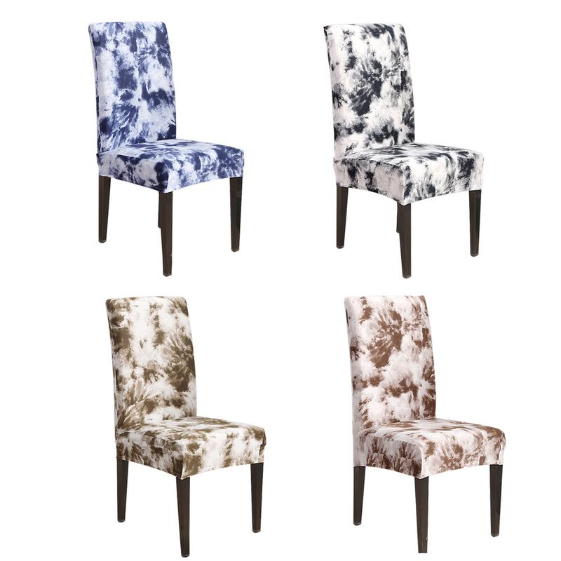 Soft Spandex Fit Stretch Short Dining Room Chair Covers with Printed Pattern, Banquet Chair Seat Protector Slipcover for Home