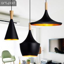Artpad Modern Metal White Black Musical Instrument Design Hainging Pendant Lamp Fixture Dining Room Restaurant E27 Pendant Light artpad white black modern design metal pendant lights for dining room kitchen e27 base bird cage retro pendant lamp bar light