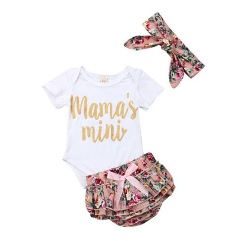 0-12 Monate Baby Mädchen Kleidung Set Weiß Mama Brief Druck Baby Rompers Mädchen Kurzarm Floral Shorts Stirnband Baby Mädchen Set Reines Und Mildes Aroma