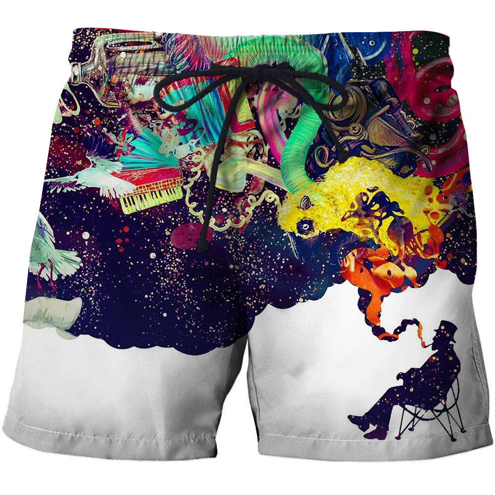 Creative Men T-Short Funny Anime Short Bodybuilding Breathable Fitness Male Quick Dry Pant 3d Print Summer Leisure Surfing Beach
