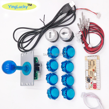 Sıfır Gecikme Joystick Arcade DIY Takımı USB Encoder PC Ahududu Pi Kopya Sanwa Joystick + led ışık ışıklı push button