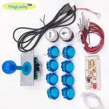 Zero Ritardo joystick Arcade Kit FAI DA TE Encoder USB Al PC Raspberry Pi Copia Sanwa Joystick + HA CONDOTTO LA Luce Illuminato Push pulsante