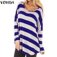 VONDA Women Striped Blouses 2018 Autumn Spring Casual Loose Elegant O Neck Long Sleeve Tops Elegant Pullovers Blusas Femininas
