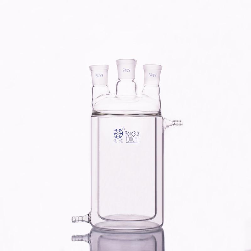 Double-deck cylindrical three straight necks flat bottom flask,Capacity 1000ml,Joint 24/29,Mezzanine jacketed reactor bottleDouble-deck cylindrical three straight necks flat bottom flask,Capacity 1000ml,Joint 24/29,Mezzanine jacketed reactor bottle