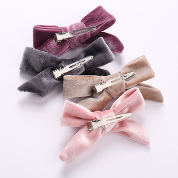 1pc Kids Velvet Bows Clip Hairpins For Women Autumn and Winter Schoolgirls Hair Accessories Lovely Bow Hair Barrettes Hair Clips image