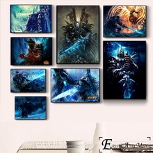 цена на Lich King WOW Game Artwork Vintage Poster Prints Oil Painting On Canvas Wall Art Murals Pictures For Living Room Decoration
