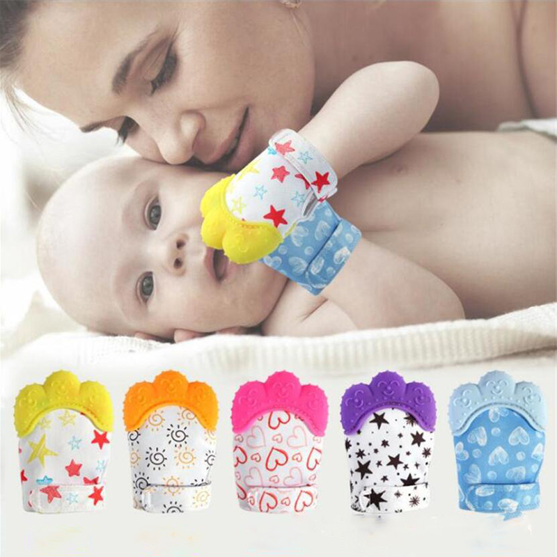 Novelty Baby Teether Silicone Mittens Teething Mitten Cute Pattern Glove Suit 3-18m Candy Wrapper Sound Toy Gifts