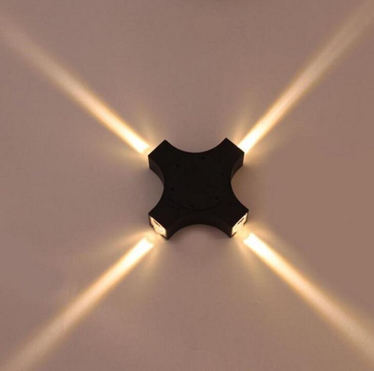 Modern Concise 12w Lamp Led Aluminum Wall Lamp Waterproof Outdoors Courtyard Lamp Aisle Bedroom Hotel Cross Light Beam Wall Lamp