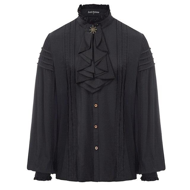 Mùa xuân áo sơ mi Nam Steampunk Victorian Renaissance Dài Tay áo câu lạc bộ bên buổi tối ruffles xếp li Jabot Cổ Áo Sơ Mi Tops