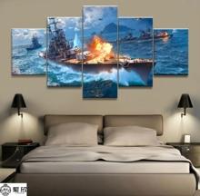 5 шт. Военная война World of Warships Танк мир живопись игра плакат декоративная роспись стены декор холст живопись оптовая продажа