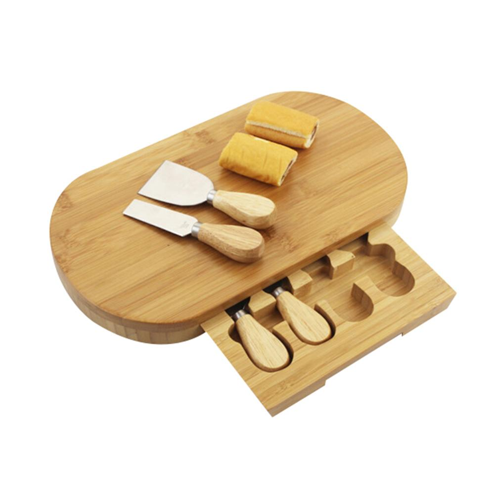 Natural Bamboo Kitchen Cheese Board Cake Bread Slicing Plate Drawer Cutlery Set Natural Bamboo Kitchen Cheese Board Cake Bread Slicing Plate Drawer Cutlery Set