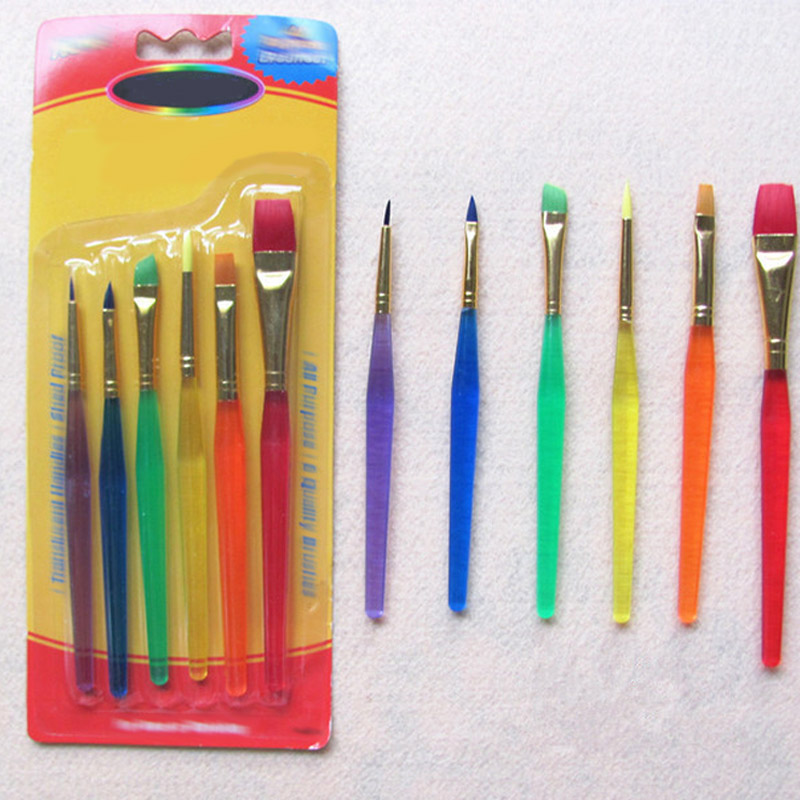 6 Colorful Child Watercolor Gouache Paint Brushes Different Shape Round Pointed Tip Nylon Hair Painting Brush Set Art Supplies
