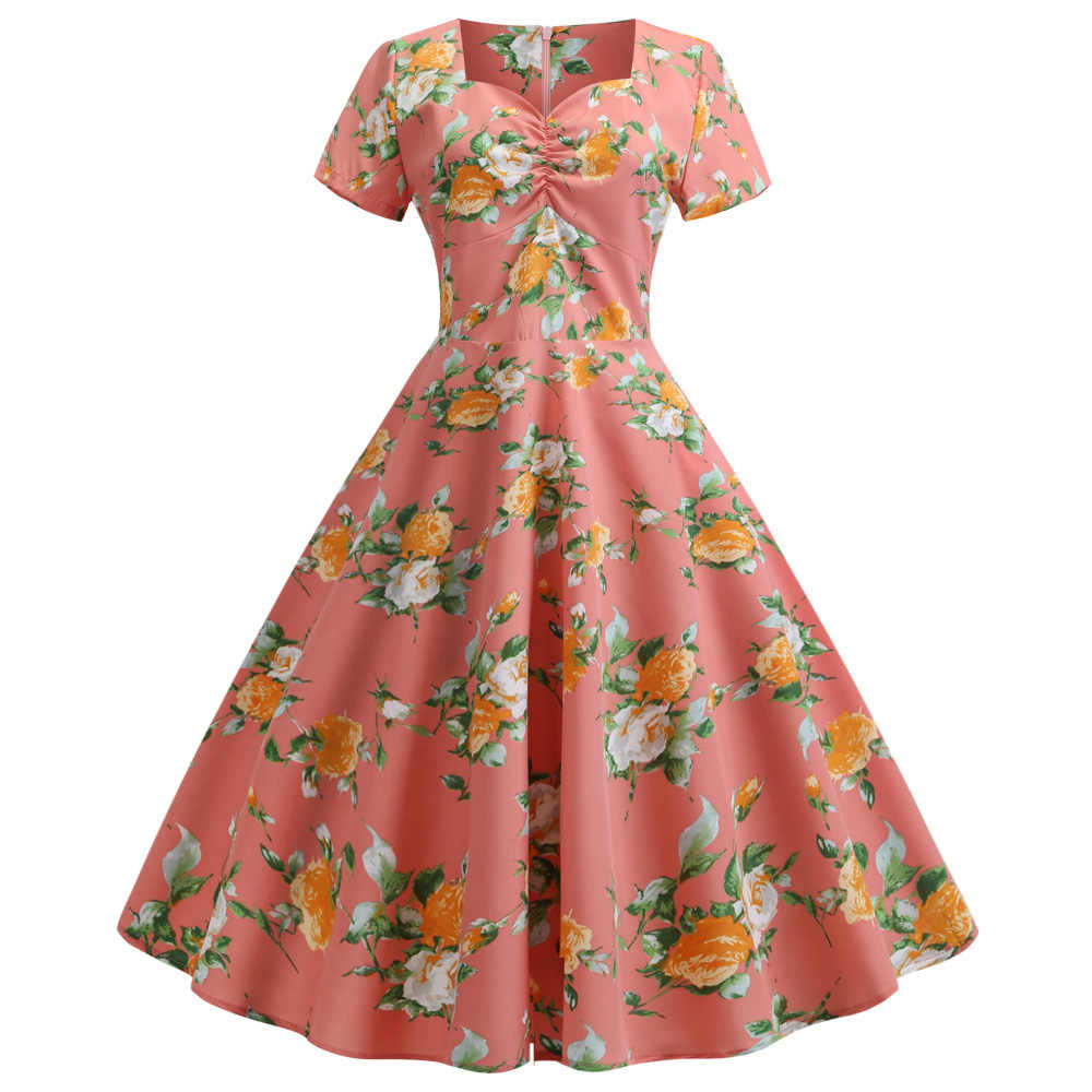 Joineles Elegant Floral Leaf Print Summer Women Dress Sweetheart Neck Rockabilly Swing Vintage Retro Dress 50s 60s Vestidos Robe
