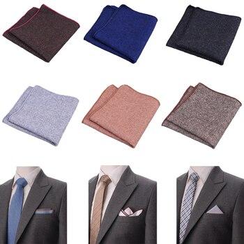 цена 23*23cm High Quality Hankerchief Vintage Suits Solid Pocket Wool Hankies Men's Pocket Square Handkerchiefs Striped Solid Cotton онлайн в 2017 году
