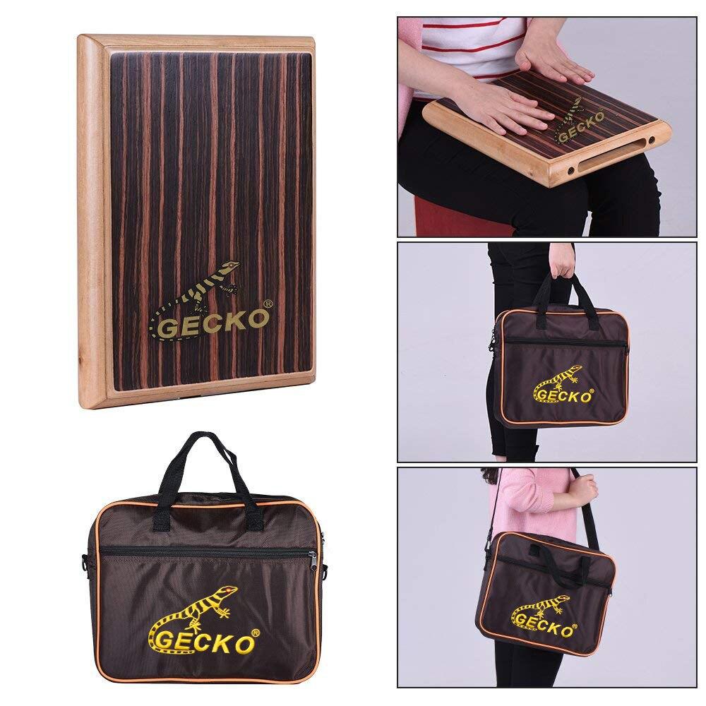 GECKO boîte de voyage tambour éducatif Cajon main plate bois tambour Instrument à Percussion enfants outils d'apprentissage avec sac de transport