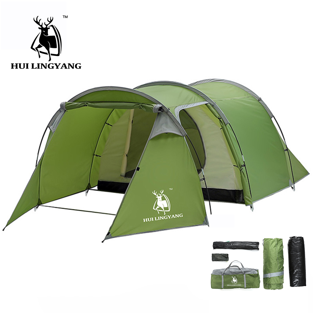 HUILINGYANG 2 4 Person Outdoor Camping Tent One Room One Bedroom Double Layer 2500 Waterproof Camping Tunnel Tent Tourist Beach
